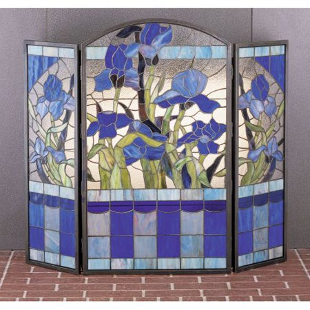 Meyda Tiffany 27236 Stained Glass / Tiffany Fireplace Screen from the Floral Elegance (Meyda Tiffany Fireplace Screen)