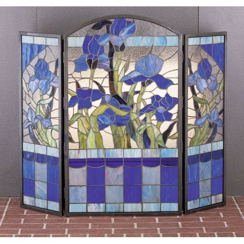 Meyda Tiffany 27236 Stained Glass / Tiffany Fireplace Screen from the Floral Elegance Collection