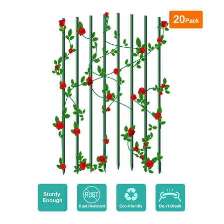 "Ecostake Garden Stakes 0.2""Dia, 2-Ft for Climbing Plants Supports Pole 20 Pack Rust-free Plant Sticks Fence Post, Dark green 20 Pack Caviar Green"