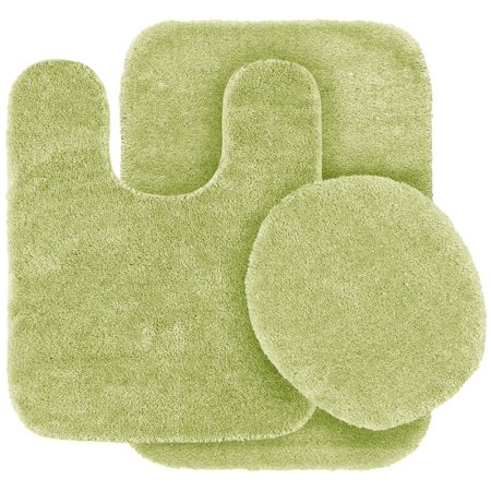 3 Pc SAGE  GREEN Bathroom Set Bath Mat RUG, Contour, and Toilet Lid Cover, with Rubber -