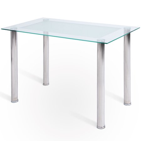 Costway Modern Rectangular Tempered Glass Top Dining Table