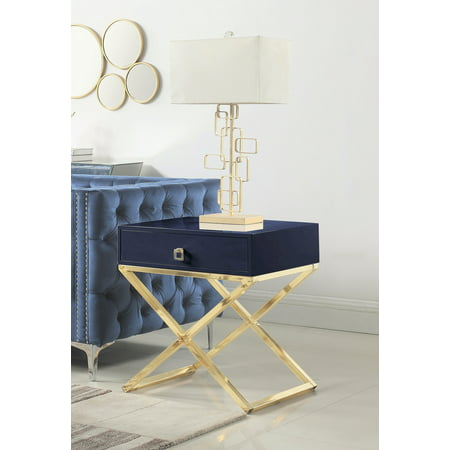 Chic Home Rochester Nightstand Side Table with Self Closing Drawer Lacquer X Base Brass Finished Stainless Steel, Modern Contemporary, Navy ()