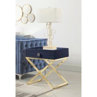 Chic Home Rochester Nightstand Side Table With Self Closing Drawer Lacquer X Base Brass Finished Stainless Steel Modern Contemporary Navy