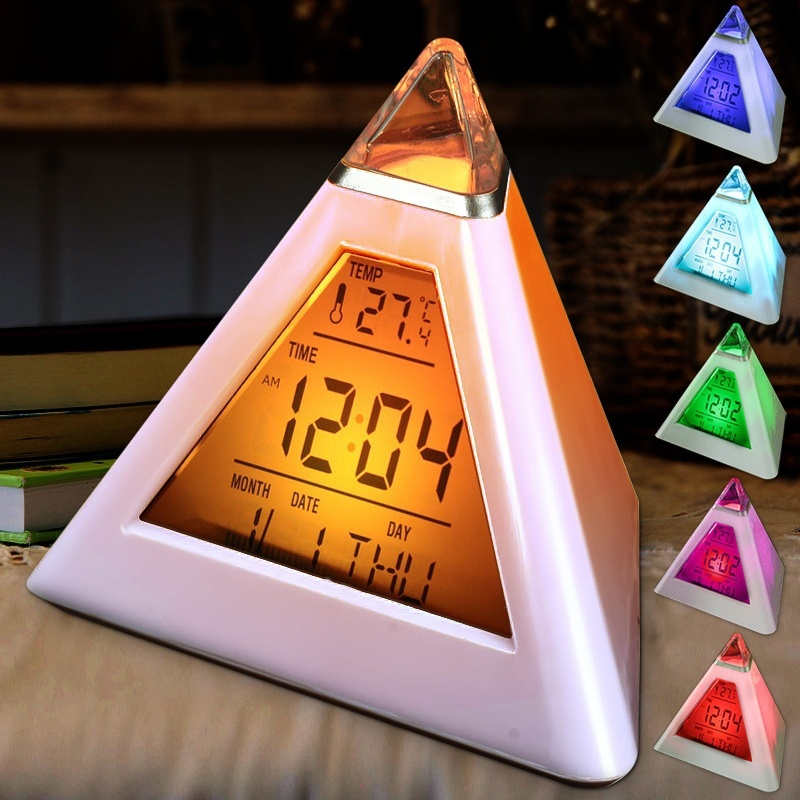 Digital LED Table Alarm, Creative Pyramid LED Color Changing Natural Sound Desk Clock with Thermometer Calander display for Kids Home Bedroom