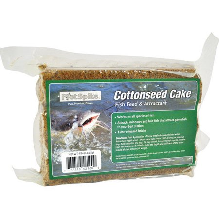 Plotspike fish feed and attractant cottonseed cake 4 for Automatic fish feeder walmart
