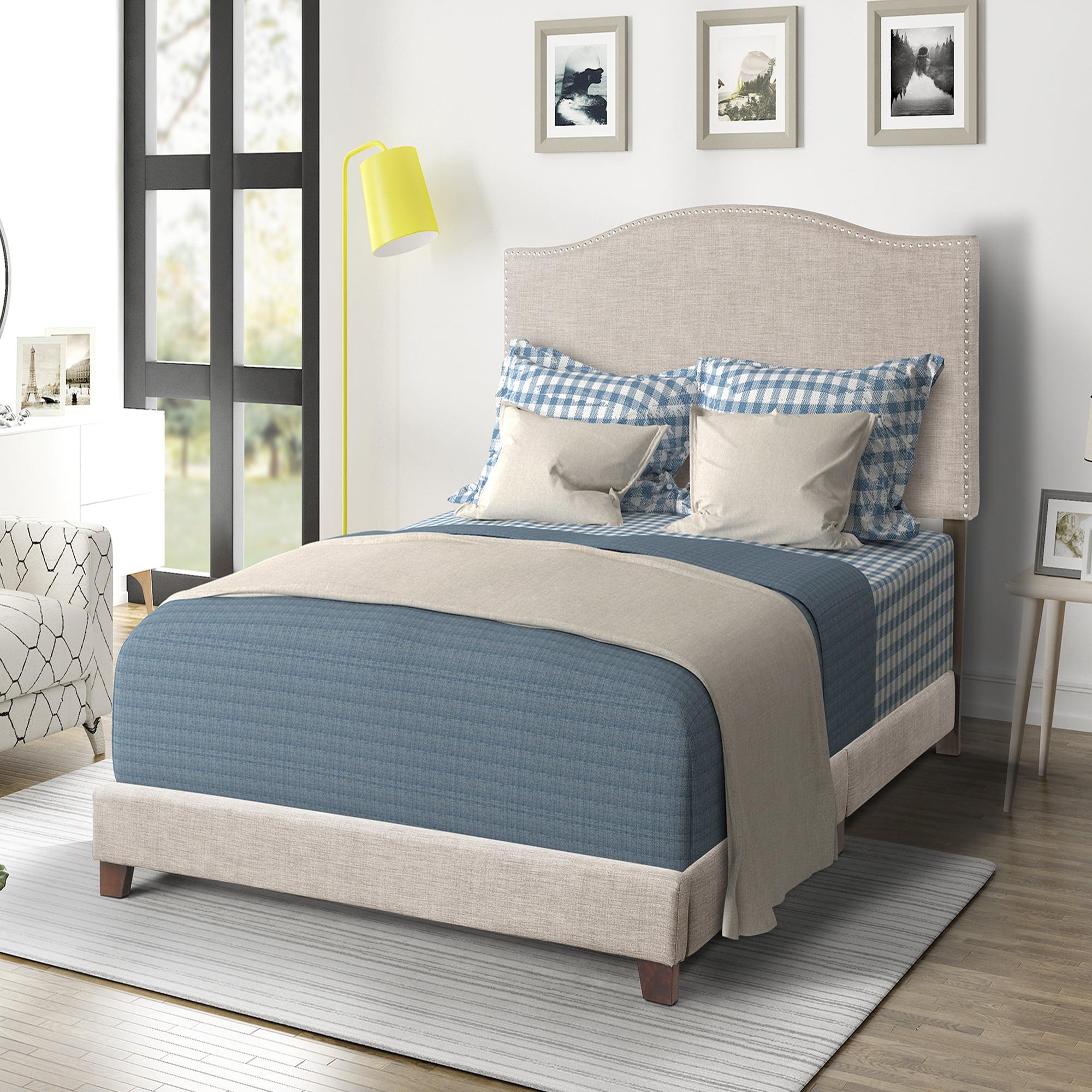 Harper & Bright Designs Wilshire Upholstered Linen Nail Head Trim Platform Bed with Slat Support, Multiple Sizes (Beige)