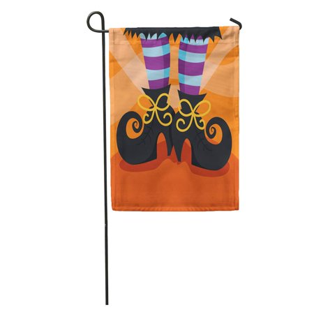 SIDONKU Halloween Cartoon of Witch Boots Foot Whimsical Fun Shoes Stocking Garden Flag Decorative Flag House Banner 12x18 inch (Cartoon Halloween Witches)