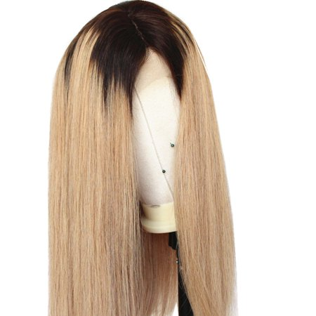 """AISOM Full Lace Human Hair Wig Peruvian Straight 27# Color with Dark roots, 18"""""""