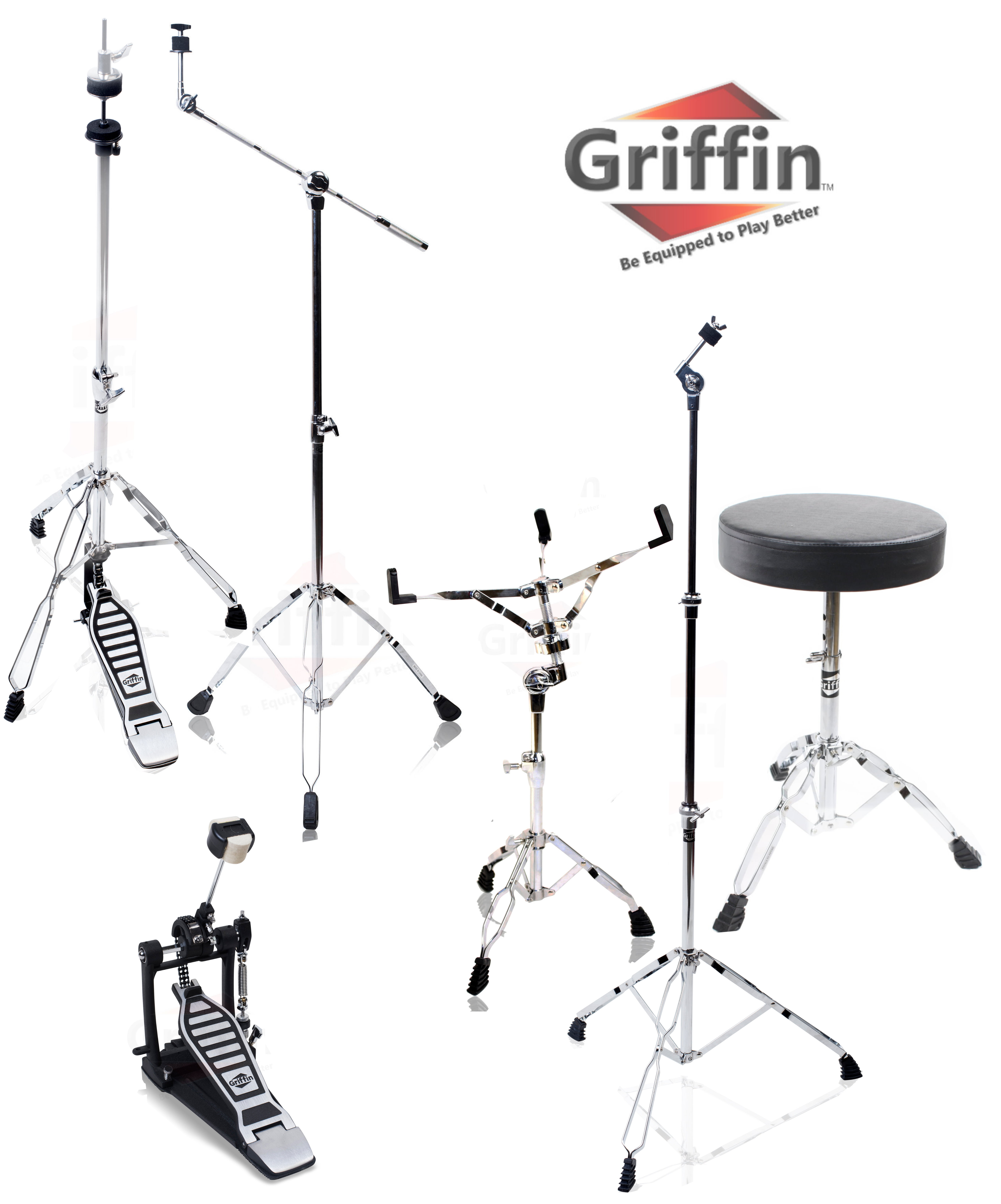 Complete Drum Hardware Pack 6 Piece Set by Griffin Full Size Percussion Stand Kit with... by Griffin