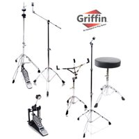Complete Drum Hardware Pack 6 Piece Set by Griffin Full Size Percussion Stand Kit with Snare, Hi-Hat, Cymbal Boom, Throne Stool and Single Kick Drum Pedal Lightweight and Portable Perfect for Gigs