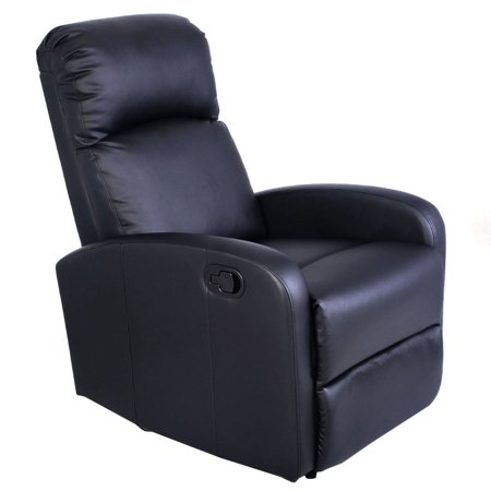 Custom Leather Upholstery - Costway Manual Recliner Chair Black Lounger Leather Sofa Seat Home Theater