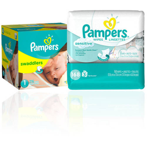 Pampers Swaddlers One Month Supply & Pampers Bonus Baby Wipes Bundle (Choose Size/Wipes Count)
