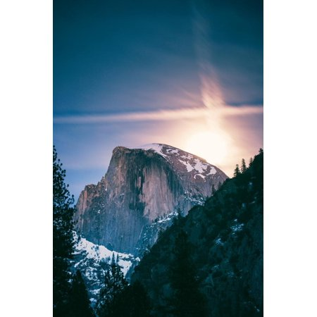 Moon Glow, Half Dome, Yosemite National Park, Hiking Outdoors Print Wall Art By Vincent James ()