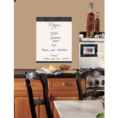 RoomMates Dry Erase Menu Peel & Stick Giant Wall Decal RZM2115FeaturesPeel and Stick giant wall decals / wall stickersRepositionable and removable with no damage to walls or surfaceComes with 5 elementsProduct Type: Wall decalTheme: Words/Quotes/Letters/NumbersColor: Black/WhiteCompatible Surface Type: Multi-surface/Flat surface/Textured/Brick/Cement/Wood/Glass/Stainless steel/Tile/Chalkboard/Appliance/Mirror/Wallpaper/PaintApplication Type: Self-adhesivePaste Included: YesRemovable: YesWashable: Yes DimensionsOverall Height - Top to Bottom: 24 Overall Width - Side to Side: 17 Overall Product Weight: 0.5 lbs SpecificationsCommercial OR Residential Certifications: YesCommercial ONLY Certifications: Yes
