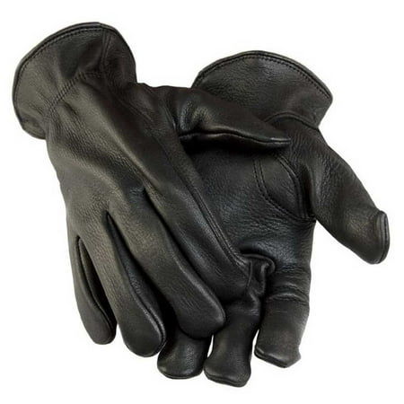 Northstar Men's Black Deerskin Gunn Cut Gloves (Unlined) - Black Nylon Adult Mens Gloves