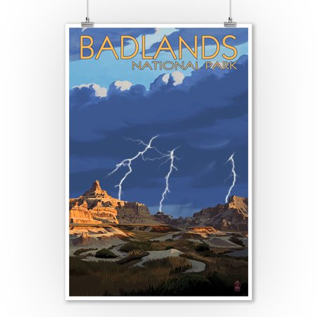 Badlands National Park, South Dakota - Lightning Storm - Lantern Press Artwork (9x12 Art Print, Wall Decor Travel Poster) ()