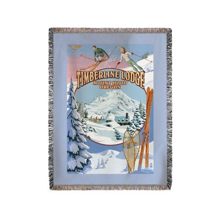 Timberline Lodge - Winter Views - Mt. Hood, Oregon - Lantern Press Poster (60x80 Woven Chenille Yarn (Timberline Lodge Mt Hood Oregon)