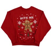 Holiday Party Mens Red Bite Me Gingerbread Man Christmas Sweatshirt M