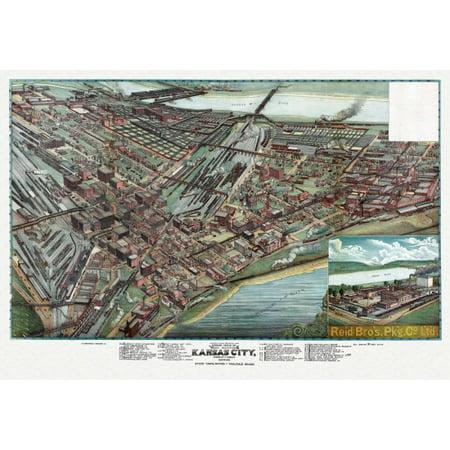 Vintage Map Of Kansas City Missouri 1895 Clay County Canvas Art