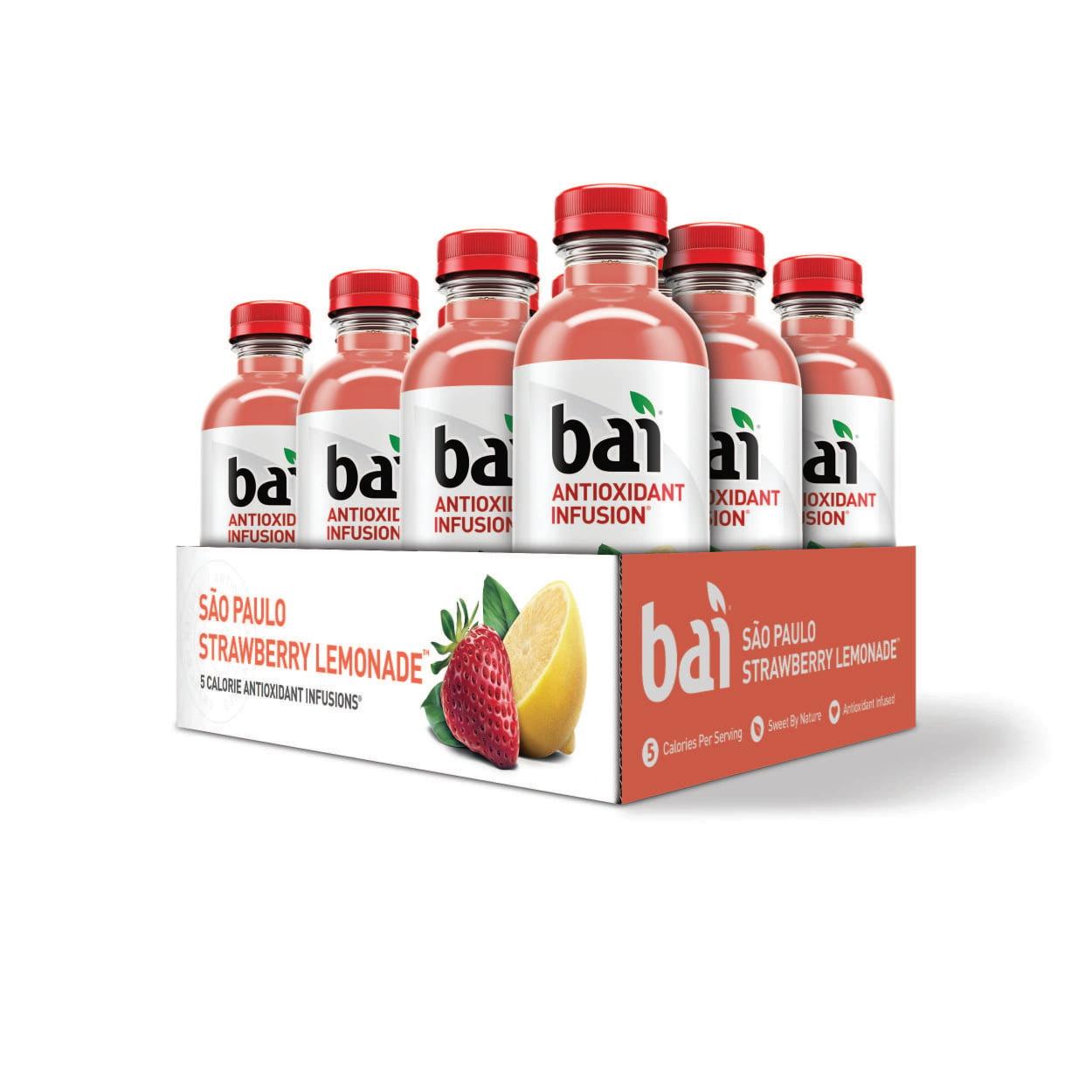 Bai Antioxidant Infused Beverage, Sao Paulo Strawberry Lemon, 18 Fl Oz, 12 Count