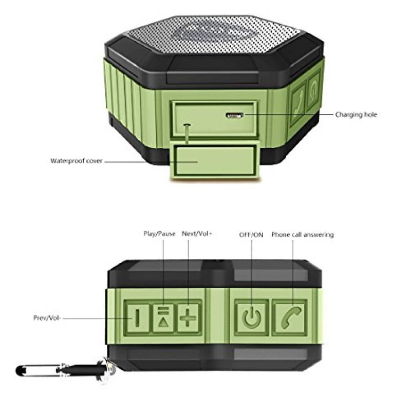 ZettaGuard ZS100 Portable Wireless Outdoor Shower Bluetooth 4.0 Speaker with IP67 Waterproof Function