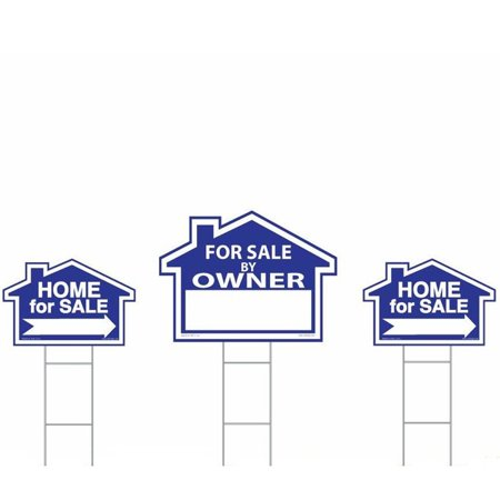 Sam's Sign For Sale By Owner Sign Kit - 3 Double Sided Signs and 3 Heavy Duty H-Stakes - Blue Property Signs 18