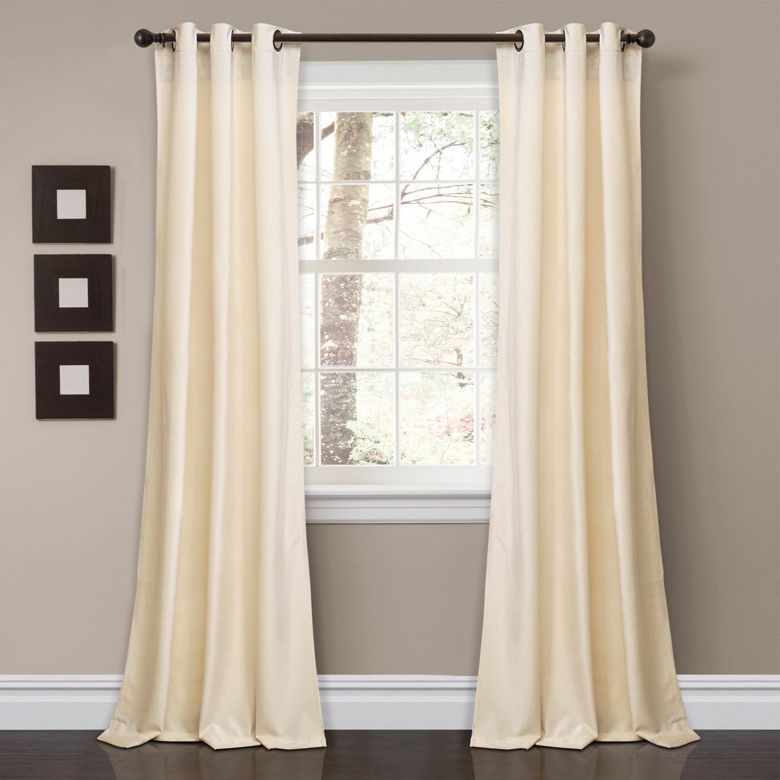 Prima Velvet Solid Room Darkening Window Curtain Ivory Set 38X84