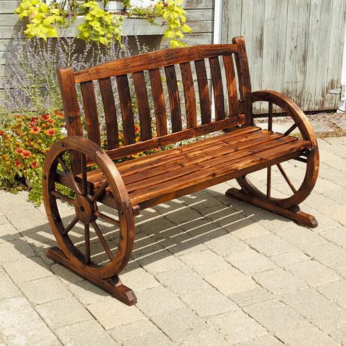 Wagon Wheel Wooden Bench Walmart