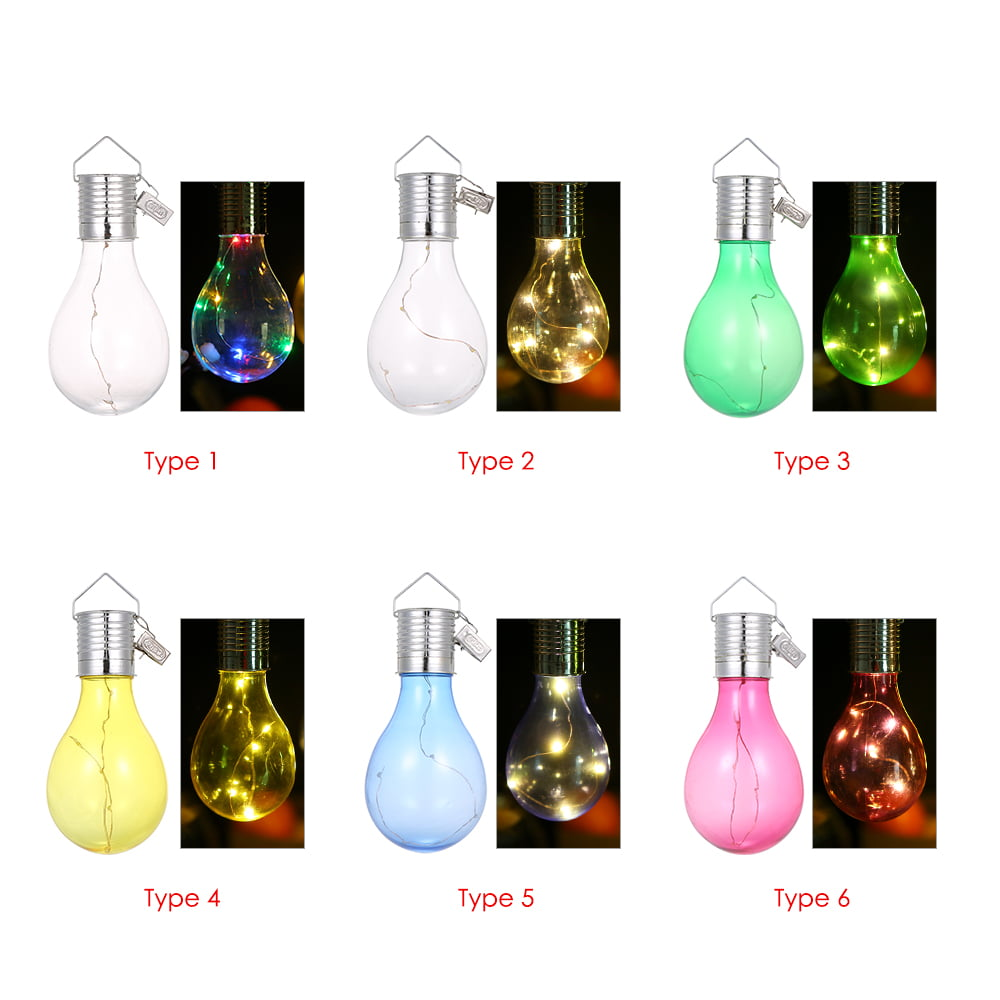 Solar Powered Energy-Saving Bulb Light Hanging LED Lamp with Clip Lighting Control IP44 Water-Resistant Outdoor Fairy Lights for Christmas Holiday Party Garden Backyard Decoration 3500k Warm White