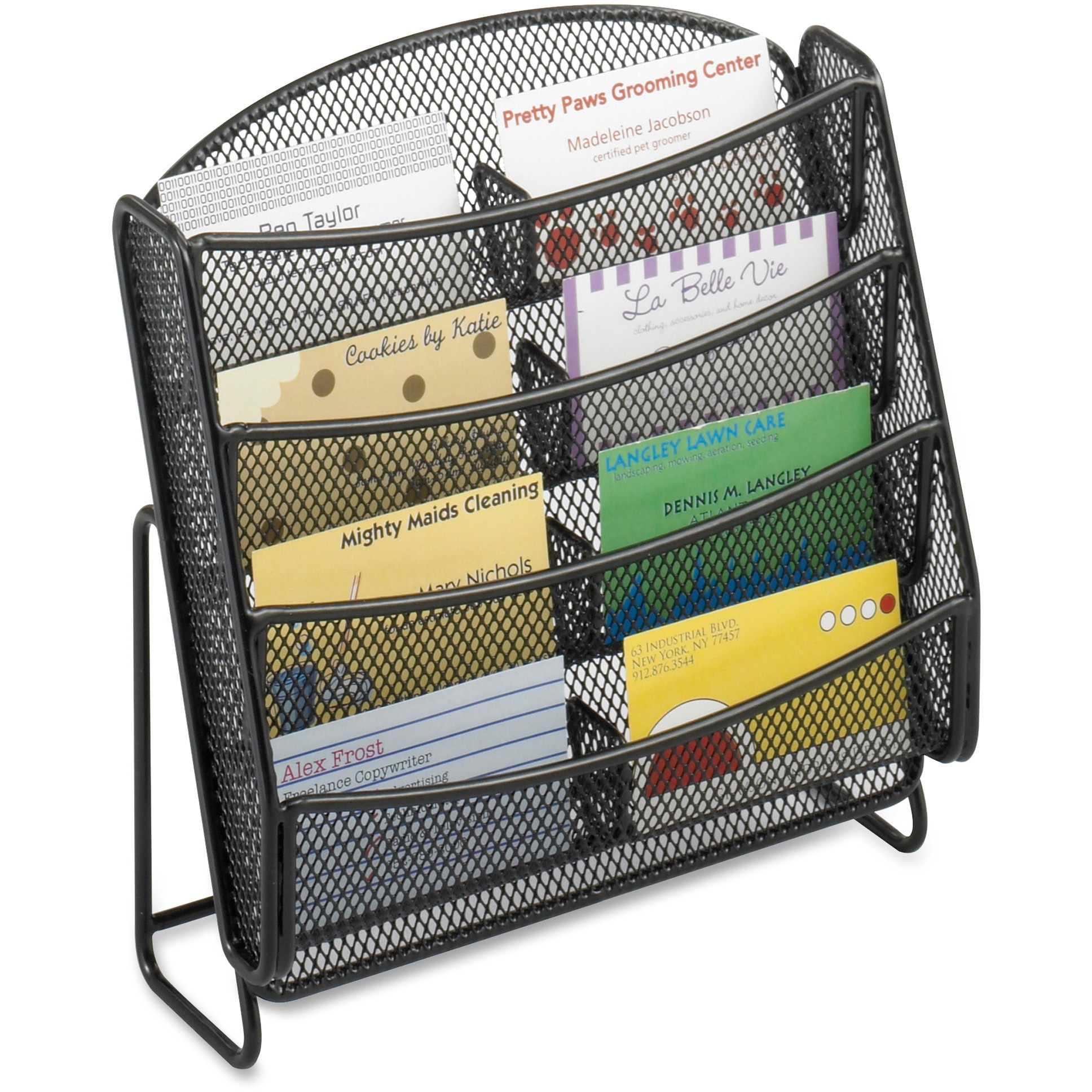Safco, SAF5642BL, Steel Mesh 8-Compartment Business Card Holder, 1 Each, Black