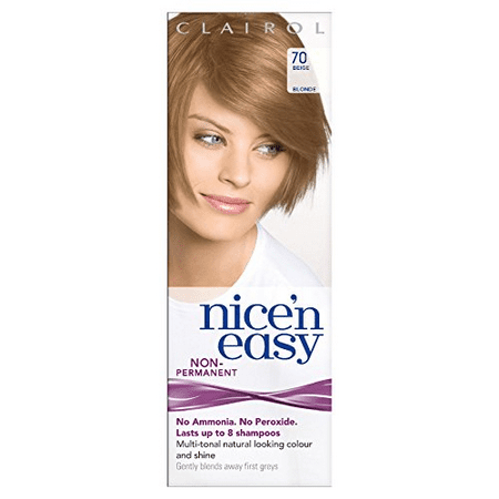 Clairol Nice n Easy Hair Color #70 Beige Blonde, UK Loving Care + Makeup Blender Stick, 12 Pcs - 70 Disco Hair And Makeup