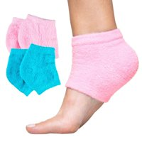 ZenToes Moisturizing Heel Socks 2 Pairs Gel Lined Fuzzy Toeless Spa Socks to Heal and Treat Dry, Cracked Heels While You Sleep (Fuzzy, Blue)