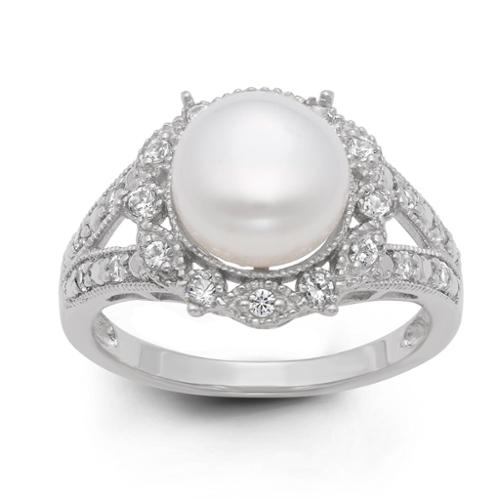 Gioelli Sterling Silver Freshwater Pearl and Created White Sapphire Ring (9.5 mm) Size 12