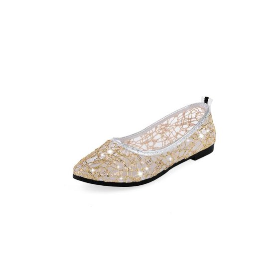f411172e02c Women s Ballet Flats Summer Flat Single Boat Shoes Mesh Lace Sequins Hollow  Flat Sandals - Walmart.com