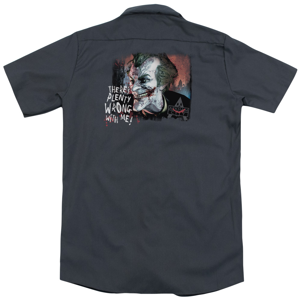 Arkham City Plenty Wrong (Back Print) Mens Work Shirt