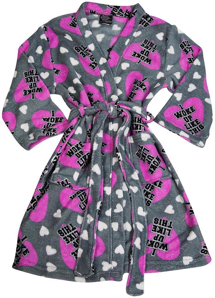 Fancy Girlz Plush Soft Graphic Print Girls Self Tie Bathrobe Robe, 38493 grey woke up like this / 7/8