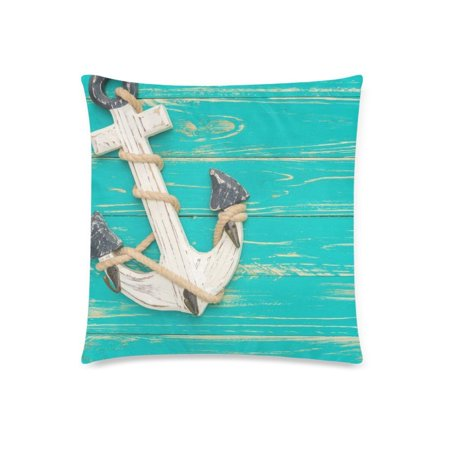 Rusty Anchor (ZKGK Vintage Wooden Anchor Blue Pillowcase for Couch Bed 18 x 18 Inches,Ocean Rusty Anchor Cotton Soft Pillow Cover Case Shams Decorative Cushion )