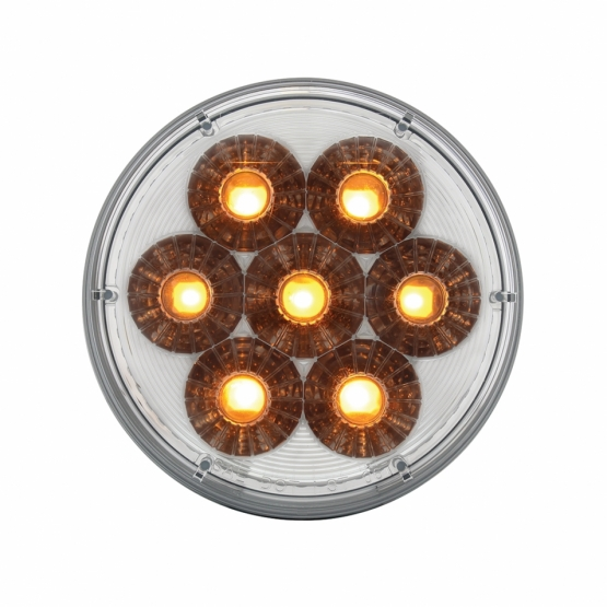 """DOUBLE FURY"" 14 LED Reflector 4"" Turn Signal with Dual Color LEDs - Amber/Blue LED w/ Clear Lens"