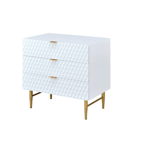 Acme Maisey 4 Drawers Dresser In White And Gold Bedside Nightstand