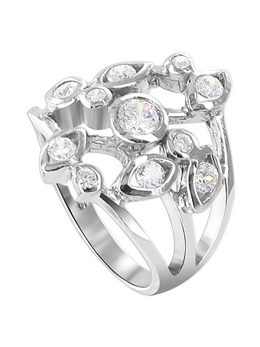 V Shape Ring Genuine Sterling Silver 925 Clear CZ Jewelry Face Height 2mm Size 5