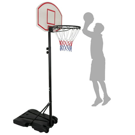 Zeny Height Adjustable Basketball Hoop System Portable Kids Junior Indoor Outdoor Net Goal Stand 28 Inch Backboard W/Wheels ()