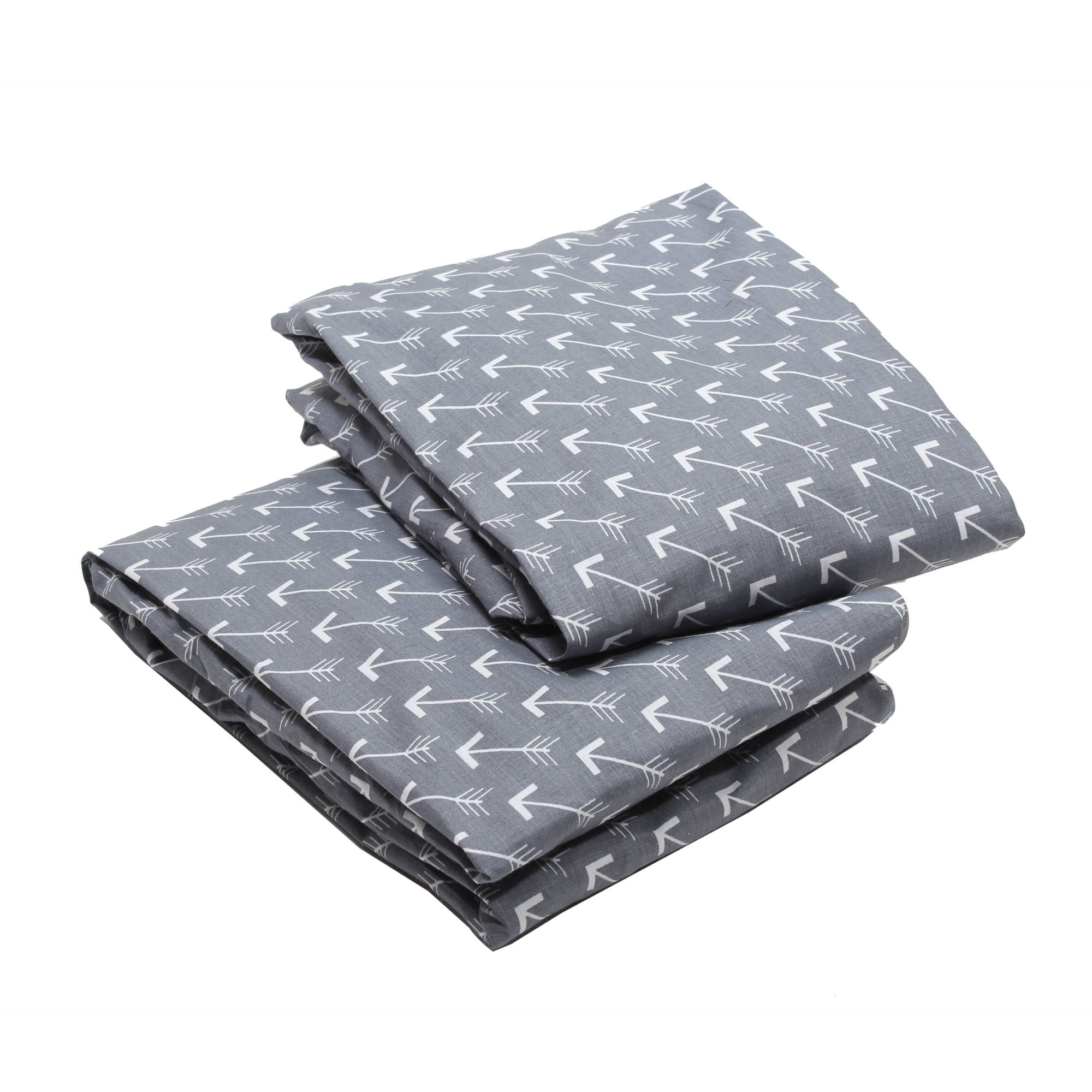 Bacati - Arrows Crib/Toddler Bed Fitted Sheets 100% Cotton Percale, Grey/White, 2-Pack