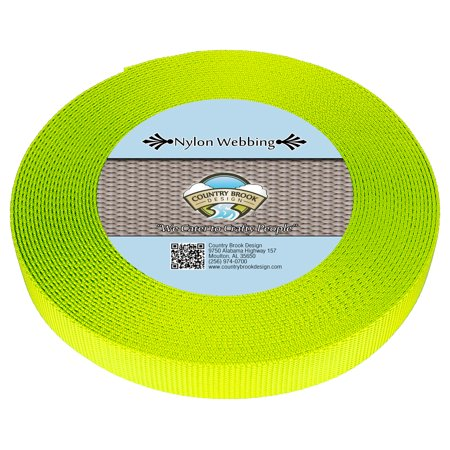 - Country Brook Design® 1 Inch Hot Yellow Heavy Nylon Webbing