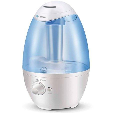 GENIANI 3L Ultrasonic Cool Mist Humidifier - Best Air Humidifiers for Bedroom / Living Room / Baby with Night Light - Whole House Solution - Large 3L Water Tank - Auto Shut Off & (Best Cool Mist Humidifier For Baby)