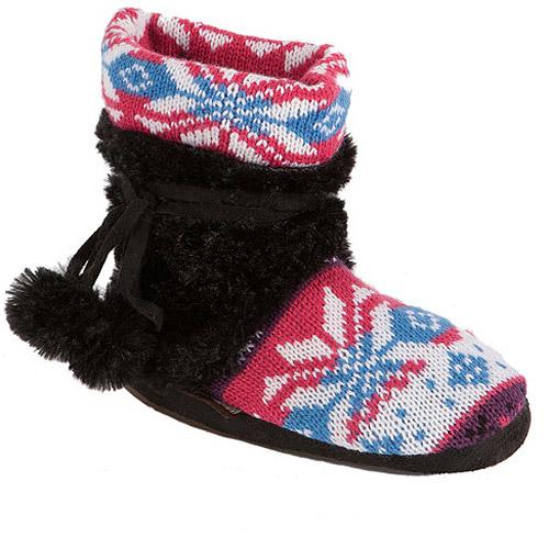 Muk Luks Kit - Girls Snowflake Fairisle Fur Wrapped Bootie