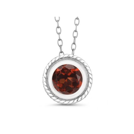 1.00 Ct Round Shape Red Garnet Sterling Silver Pendant