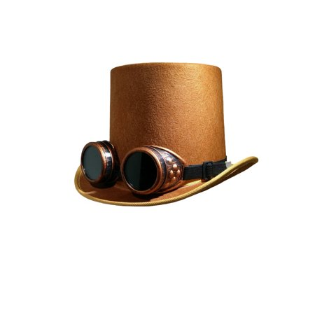 DLX Brown Steampunk Top Hat Colored Goggles Smoked Eyewear Industrial Aviator](Aviator Goggles And Hat)
