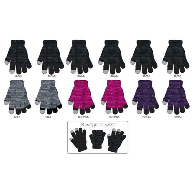 Eros G01-GL8011L-NS-ASSRT Womens 2-Piece Layered Cut-Off Lurex Touch Screen Gloves - Case of 120 - image 1 de 1