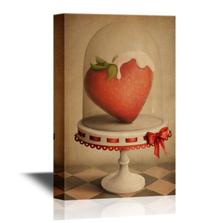 - wall26 Retro Style Canvas Wall Art - Strawberry With Cream - Vintage Style Giclee Print Gallery Wrap Modern Home Decor | Ready to Hang - 24x36 inches