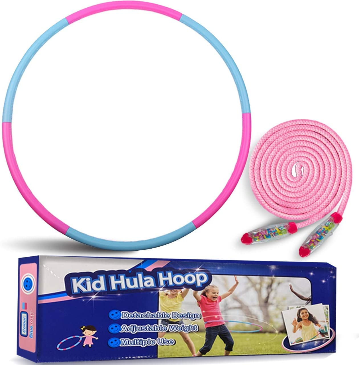 Dance rongrong 2 Pack Kids Hoola Hoop Adjustable Size/Weight Colorful Detachable Hoola Hoops Plastic Toy for Kids Playing Bodybuilding Gymnastics Lose Weight
